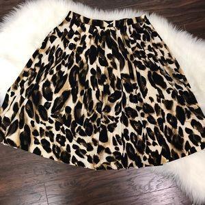 Vintage Skirts - Vintage Leopard Print Midi Skirt Drop Waist Flare
